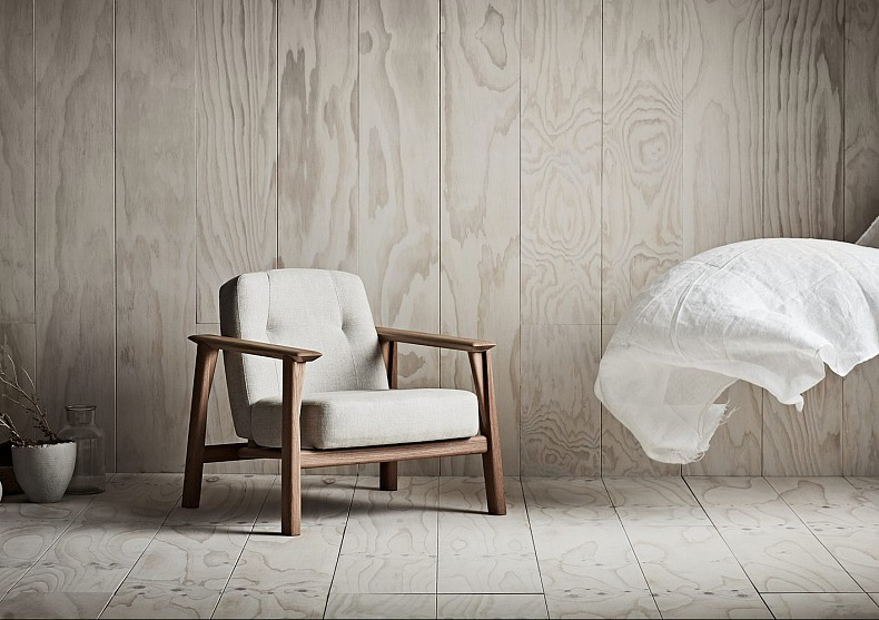 Brixton Armchair in light fabric. By TIDE Design, Melbourne.