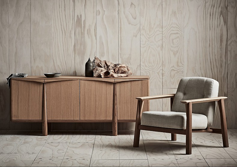 Brixton Armchair with Napier Sideboard. By TIDE Design, Melbourne.