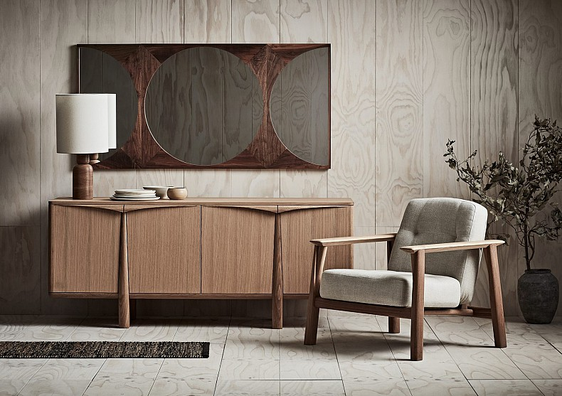 Brixton Armchair, Napier Sideboard, Soho Mirror, Tote Lamp by TIDE Design, Melbourne.