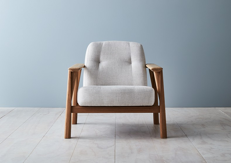 Brixton Armchair in American Oak with linen upholstery. By TIDE Design, Melbourne.