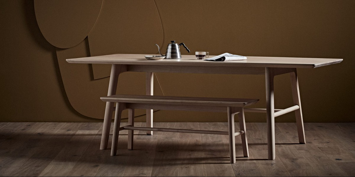 TIDE Design, Melbourne, Australia.  Moya Dining table and bench seat.