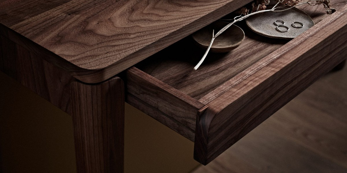 TIDE Design, Melbourne, Australia.  Polly Hall table drawer. American Walnut.